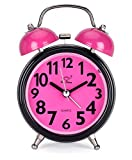 Classic Twin Bell Pink Colour Table Alarm Clock With Night Led Light - EDALRM002