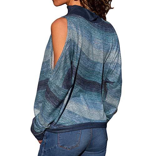 iHENGH Neujahrs Karnevalsaktion Damen Damenmode Kalte Schulter Bluse Geometrischer Blumendruck Jumper Damen Top(L,Blau)