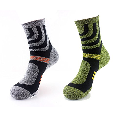 2 Pairs Wicking Crew Socks - Outdoor Camping Walking Trekking Running Athletic Hiking Sports Sock - Lightweight Breathable Liner Cushioned For Women Men - UK 6-10 EUR 39-44