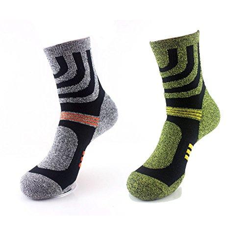 2Paar Crew Socken, gute Feuchtigskeitsableitung–für Aktivitäten im Freien, Camping, Wandern, Trekking, Laufen–leicht, atmungsaktiv, rutschsicher, gepolstert, für Frauen / Herren–Größe 39–44 (Crew Liner Lightweight-hiking)