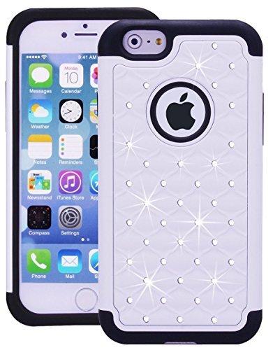 iPhone 6Fall, Meko (schiffsreihe) Strass Kristall Bling Hybrid Armor Case [stoßfest] Apple iPhone 6Schutzhülle Heavy Duty, Dual Layered mit PC und TPU Schutz Cover für Apple iPhone 6(4,7)-Weiß (Bling Iphone6 Fällen)