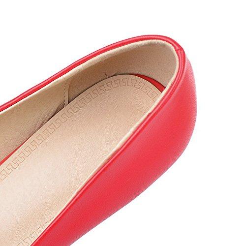 AgooLar Femme Rond Boucle Microfibre Couleur Unie à Talon Correct Chaussures Légeres Rouge