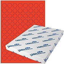 1000 Papier-Etiketten A4 Bogen permanent neon-grün 30 mm rund Klebepunkte