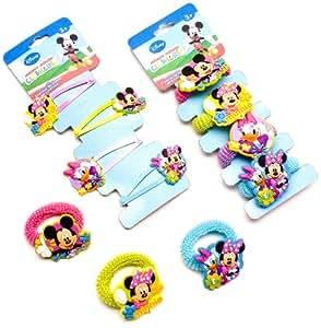 Mickey Mouse 23039+23030 - Mickey & Minnie Haarklippchen und Zöpfchenhalter - je 4 Motive sortiment
