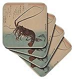 CST _ 184618Florene–Asiatische Kunst–Print of Vintage Malerei von Garnelen N Hummer–Untersetzer, Gummi, set-of-8-Soft