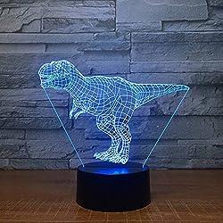ZNND Colorida luz de la noche, USB carga de creatividad LED 3D ilusión efecto dimensional Tiranosaurio rex lámpara de mesa (panel de acrílico + Base de ABS)