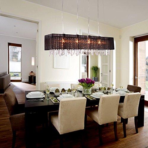 Ouku 1Pcs Modern Kristall Kronleuchter für Esszimmer/Wohnzimmer Schwarz Shade Rechteck