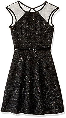 Zunie Big Girls  Illusion Sparkle Textured Knit Dress with Ribbon eb3e95983