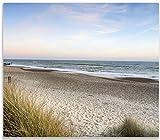 Herdabdeckplatte aus Glas, 1-teilig, 60x52cm, für Ceran- und Induktionsherde, Strandspaziergang im Urlaub an der Ostsee
