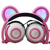 Auriculares de orejas de gato, plegables, con cable, para niños, con...