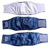 JoyDaog (3 Pack) Jean Belly Bands for Male Dog Diapers Reusable Belly Wrap M
