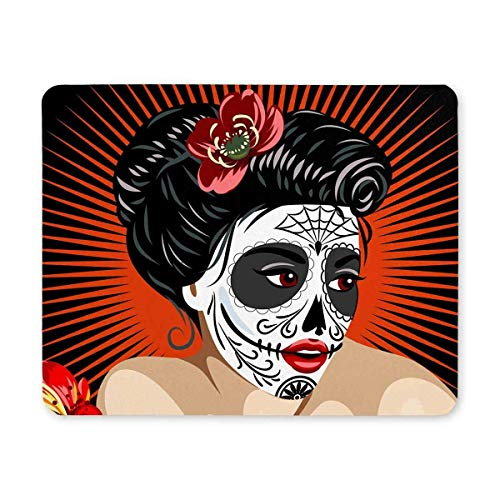 Der Tod des mexikanischen Mädchens von Halloween im Zuckerschädel-Make-up-Rechteck Rutschfeste Gummi-Laptop-Mausunterlage Mauspads / Mauspad-Schutzhülle mit Designs für Office Home Woman Man Employee