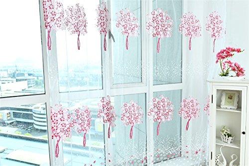 , mit ländlicher Stil mit Muster für Baum, Bedruckt mit Garn für Fenster Tür, Schlafzimmer, Dekoration mit, Polyester, Rose, 100 * 200cm ()