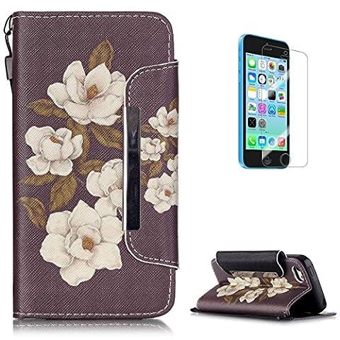 Coque iPhone 5C en Cuir Housse [avec Gratuit Protections D'écran],KaseHom