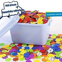 QPP-CL Snowflake Plastic Building Construction Toy 4Cm (1.57In) DIY Puzzle Building Blocks Education Puzzle 600Pc