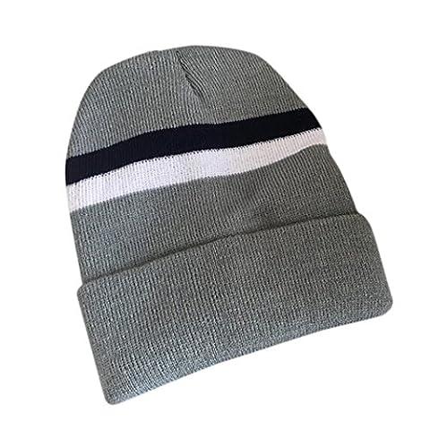 Beanie Hat,Saingace Unisex Man Women Slouchy Striped Beanie Knit Crochet Ski Cap Hip-Hop Winter Warm Unisex Braided Hat