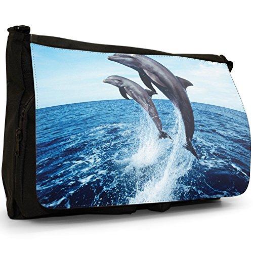 Delfini grande borsa a tracolla Messenger Tela Nera, scuola/Borsa Per Laptop 2 Dolphins Jumping Together