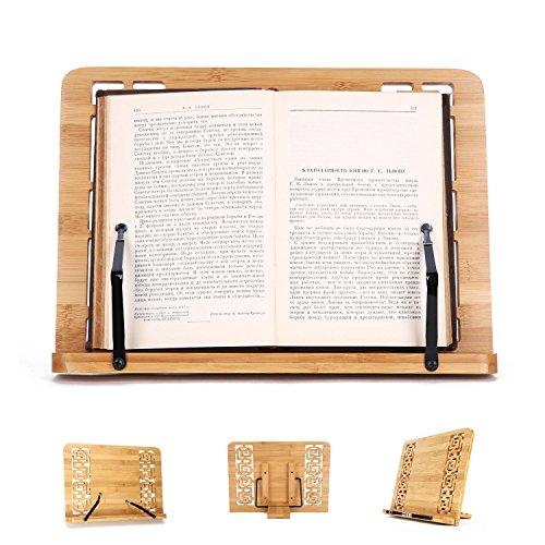 porta documenti supporto libri leggio da tavolo per libri Porta da tavolo Libro di ricette Libri Libri Riposo Libri di lettura Supporto per tablet Pieghevole vassoio di carta Pagina Clip di bambù portatile Leggio per libri Laptop iPad Libro di testo Ricetta Documento Musica Pianoforte (cavo)