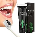 MEINAIER Bambuskohle schwarze Zahnpasta Zahnaufhellung - aktive Bambuskohle Zahnpasta,Fluoridfreie zahnpasta um Rauchflecken zu entfernen die Zähne sauber glänzend zu halten und frischen Atem halten
