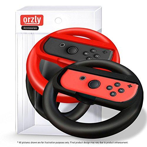 Preisvergleich Produktbild Orzly Lenkräder [DOPPELPACK] für die Verwendung mit Nintendo Switch – Lenkräder [mit eingebauten LED Licht-Indikatoren] für die Nutzung mit Nintendo Switch Joy-Con Controller in SCHWARZ