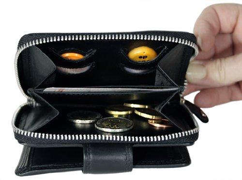 EUKO-Chip-borsa con linguetta di chiusura con cerniera e - formato- Nero (Schwarz-Beere)