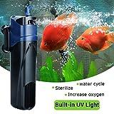 ZAK168acquario pompa aria, sterilizzatore UV ossigeno pompa sommergibile pompa filtro acqua di pompa per acquario Fish Tank di acqua Fontana laghetto, Come da immagine, 25 * 5.5 * 6.5cm