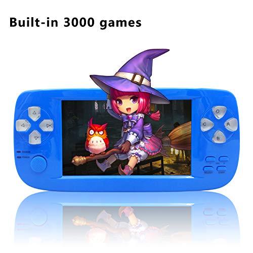 YLM Handheld Spielkonsole,Portable Spielkonsole mit 3000 Spielen und TV-Ausgang, Kamera, SD-Musik (Blau)