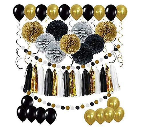 HANJIAJKL 32 Geburtstagsdekorationen für Jungen und Mädchen/Foliengeburtstagsbanner / 20 Latexballons, 9 Papierblumen,Yellow