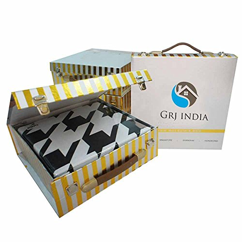 GRJ INDIA Jaipuri World Famous Light weight Pure Cotton Rajasthani Print Light Blue Colour Reversible Double Bed Quilt /Razai / Rajai