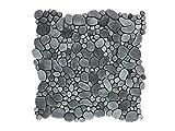 Glasmosaik/Mosaikfliese aus Glas als Wandverkleidung/Bodenverkleidung für Badezimmer oder Küche I Steinoptik 015007 (Dunkelgrau)