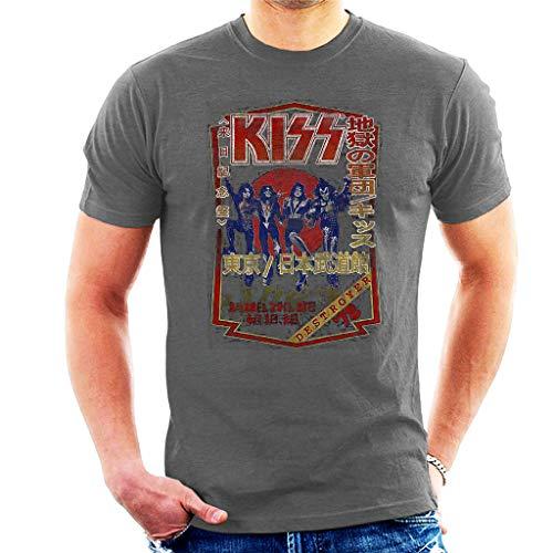 Kiss Destroyer Tour '78 Manga Corta De Los Hombres Camiseta Gris...