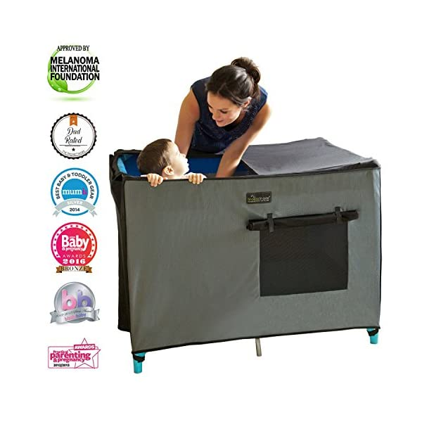 SnoozeShade Portable Blackout Blind and Canopy for Travel Cots SnoozeShade Sharing a room with your baby? There's no need to creep around in the dark (we've all done it). Let SnoozeShade make it easy. Keep the lights on without worrying about waking your little one. Invented by a British mum, it creates a comfortable darkened environment to help babies switch off and sleep in strange surroundings. Great for hotels, family visits, camping or any time you need baby to nap in the travel cot. So simple to use and easy to travel with. Just pop it over the travel cot, attach the bottom straps and you're done! Lightweight and no complicated attachments. 1