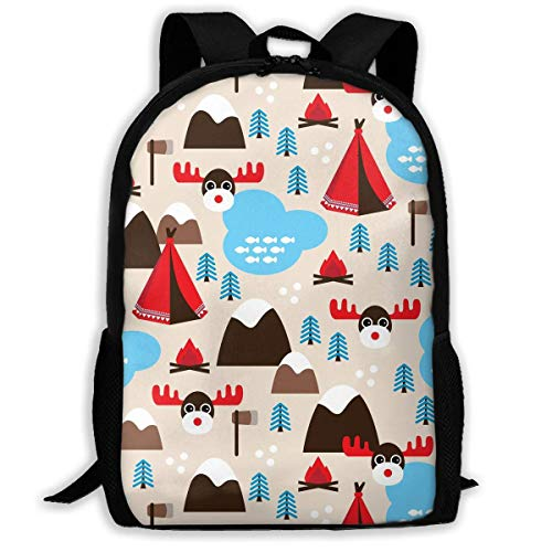 TRFashion Christmas Wilderness Camp Unisex Custom Backpack School Leisure Sports Book Bags Durable Oxford College Laptop Computer Shoulder Bags Lightweight Travel Daypacks Rucksack