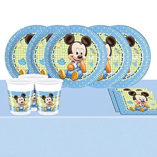 Mickey Mouse - Kit completo per feste, motivo: Topolino baby, per 16 persone