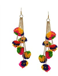 Michelangelo 6 Tassel MultiColor Pom Pom Earrings For Girls and Women