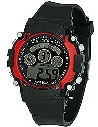 Lemonade Sports Black - Red Multifunction Fashion 7 Lights Unisex Digital Sports Watch For Kids - ABOVE 10 YEARS