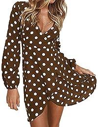4f0ff5c6a49b abito Abbigliamento Marrone it Vestiti Amazon Donna pois Zw1wq8