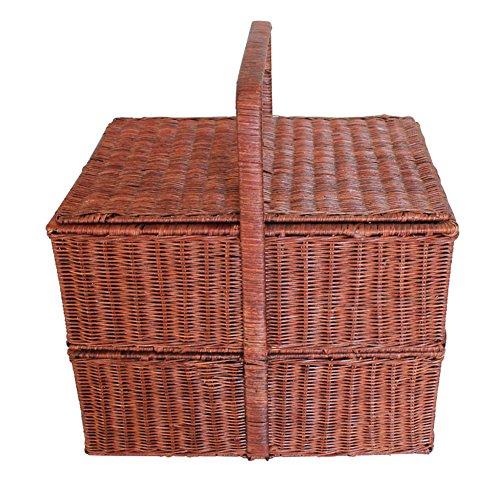 HM&DX Rattan-picknick-korb mit deckel 5~6 person picknickkorb zwei stufen markt mittagessen tote für camping wandern reisen-brown 43*33*32cm -