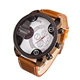 Yogogo Herren Luxus Quartz Analog Armbanduhr , 1 Cent Artikel | Lederband | Dekoration | Geschenk | Metallgehäuse | Quarzwerk | 2cm Bandbreite | 24cm Bandlänge (Weiß)