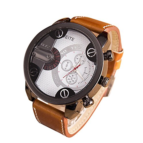 DOLDOA Mens Sale Clearance Watch Analog Sport Steel Case Quartz Faux Leather...