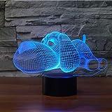 3D-Dog-Nachtlicht Schöne Hündchen Baby-Nachtlicht for Schlafzimmer, Illusion LED Schreibtisch Tischlampe for Kinder, Fernbedienung 7 Farbwechsel Unique Gift berühren (Color : USB Touch)