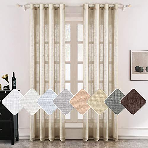 MIULEE 2er Set Voile Vorhang Sheer Leinenvorhang mit Ösen Transparente Leinen Optik Gardine Ösenschal Wohnzimmer Fensterschal Luftig Lichtdurchlässig Dekoschal für Schlafzimmer 245 x 140cm (H x B) -