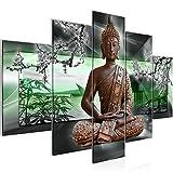 Bilder Buddha Feng Shui Wandbild 150 x 100 cm Vlies - Leinwand Bild XXL Format Wandbilder Wohnzimmer Wohnung Deko Kunstdrucke Grün 5 Teilig - MADE IN GERMANY - Fertig zum Aufhängen 503253b