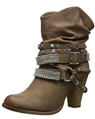 Minetom Ankle Boots Trendige Damen Stiefeletten Blockabsatz Plateau Khaki EU 40