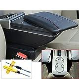 MyGone Polo 9N 2002-2009 Aufbewahrungsbox Mittelkonsole Leder Getränkehalter Dual Layer Armlehne Armlehne Schwarz + Werkzeug
