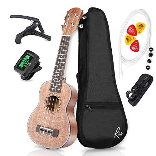 RAS Ukulele Sopran 21 Zoll Mahagoni Vier String Gitarre für Erwachsene und Kinder (Elegant Grau) - Skulptur In Der Runde