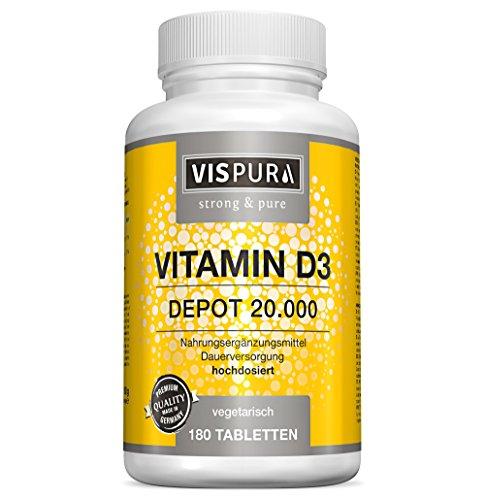 Vitamin D3 hochdosiert 20000 IE (20-Tage Dosis) 180 vegetarische Tabletten (teilbar) ohne Magnesiumstearat in deutscher Premium-Qualität und 30 Tage kostenlose Rücknahme