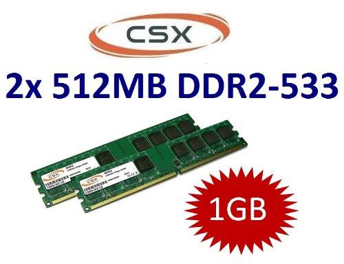 1GB Dual Channel Kit CSX Original 2x 512 MB 240 pin DDR2-533 (533Mhz, PC2-4200U, CL4, 240-polig, Nicht-Ecc, unbuffered) für DDR2 Mainboards - 100% kompatibel zu 400Mhz, PC2-3200U, CL3 - Nicht Ecc-unbuffered Ddr2