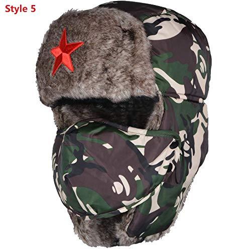 Warme Mütze,Nach Camouflage Lei Feng Cap Bomber Hüte Männlich Red Star Army Green Winter Warm Gehörschutz Cap Herren Wind Maske Kappe