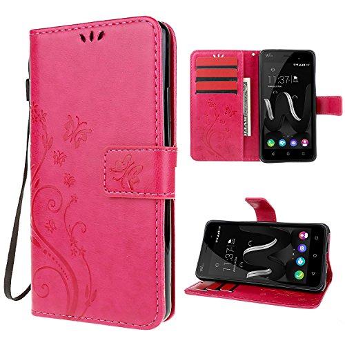 custodia-wiko-jerry-rosso-leathlux-retro-fiore-modello-design-con-cinturino-da-polso-magnetico-snap-